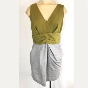 Rachel Roy Sheath Dress SZ 2 Pleated V Neck Casual